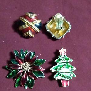 Pair of Christmas earrings and 2 brooch